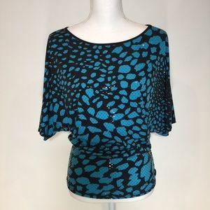 "Clara S. Black/blue sparkly top size ""S"""